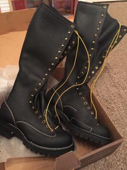 """Wesco Highliner Lineman boots 9D lace to toe 18"""" tops no ste"""