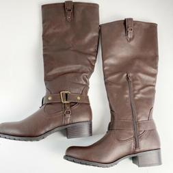 Rampage Iliya Women's Tall Fashion Boots 7 Brown Faux Leathe