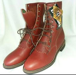 Justin Lacer Boots Mens Size 11.5 D Cherry Leather Lace Up K
