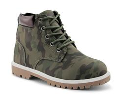 Kids Camouflage Ankle Boots Boys Lace Up Outdoor Work Girls
