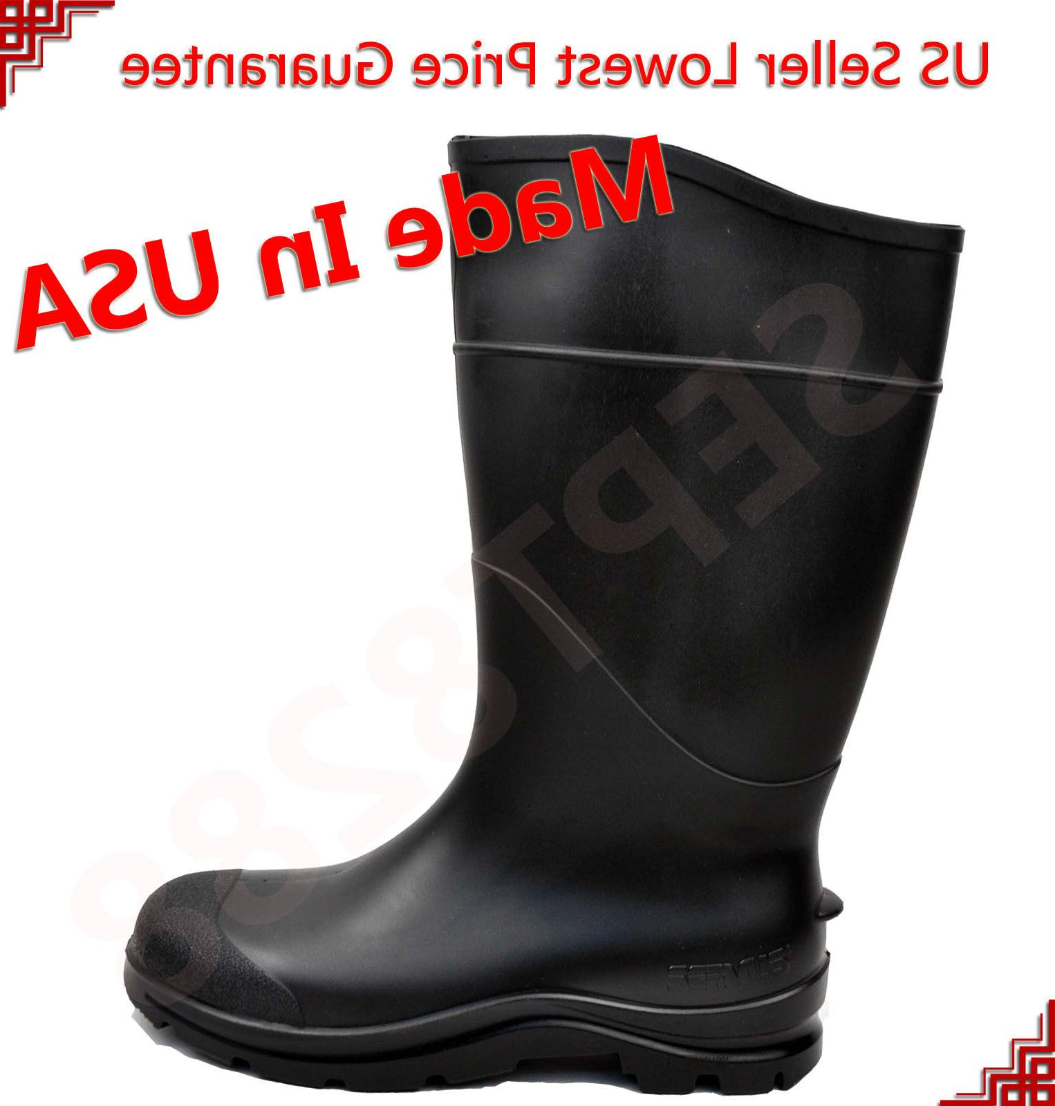 "14"" Mens Waterproof Rubber Rain Boots Work Safety Boots Acid"