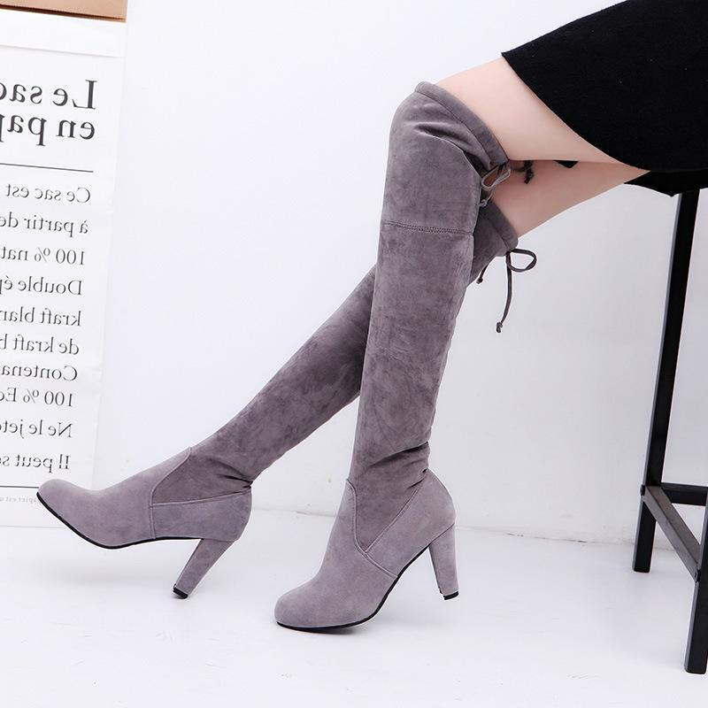 2019 New Faux Suede Slim The Knee Fashion Thigh <font><b>Boots</b></font>