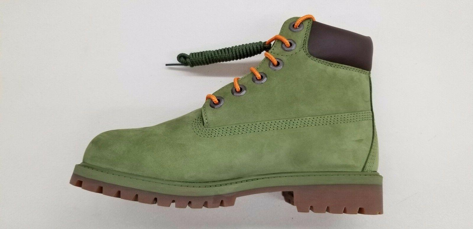 TIMBERLAND 6 INCH GREEN ORANGE NUBUCK BIG SIZE A1MNE