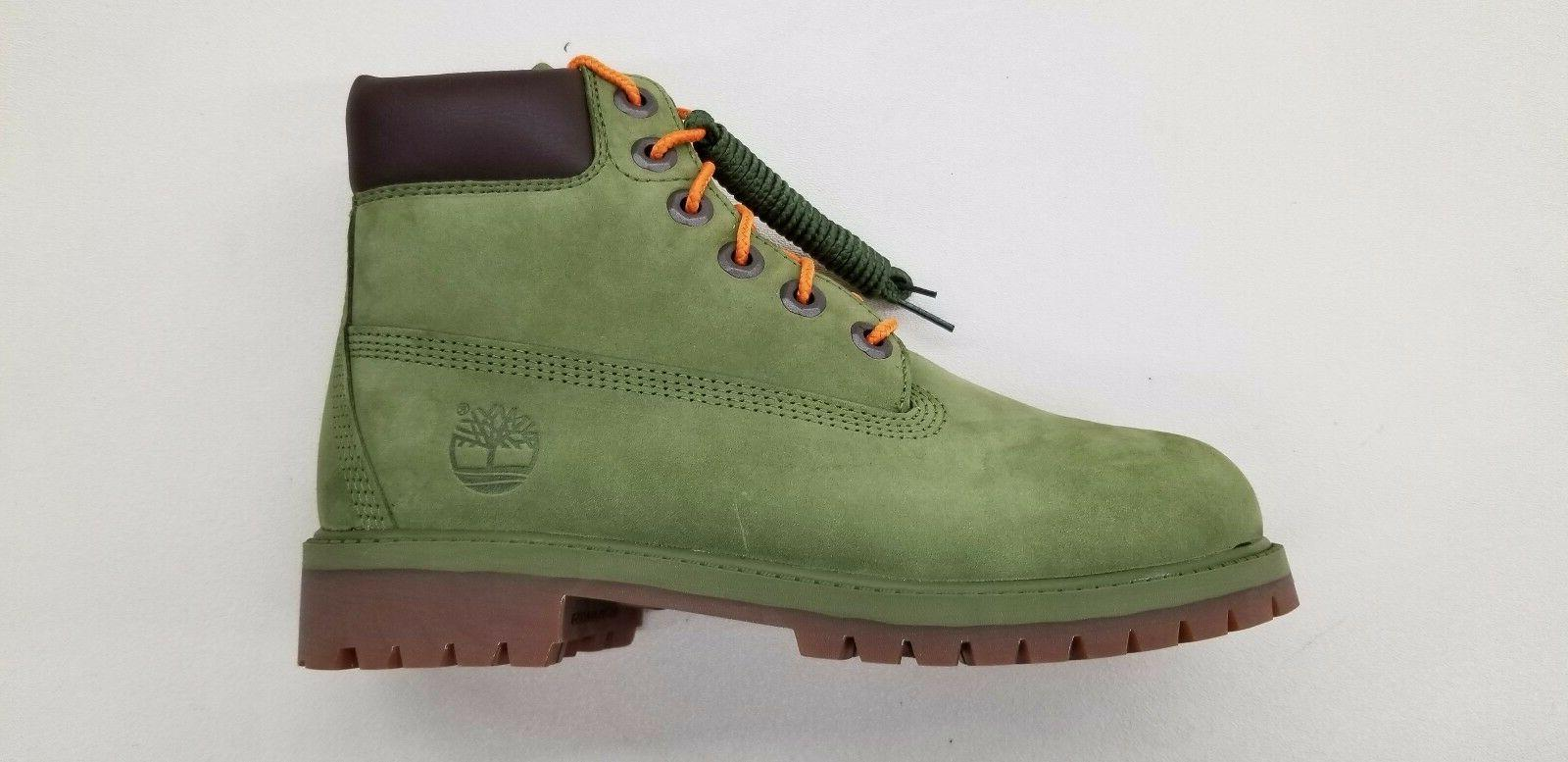 6 inch premium green orange nubuck gum