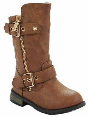 JJF Shoes Baby Girls M21 Tan Dual Buckle/Zip Quilted Back Mi