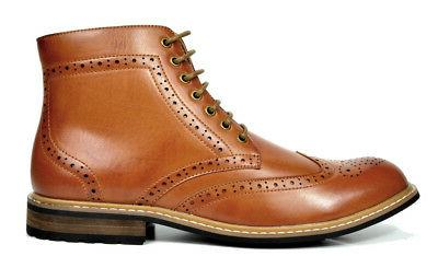Bruno Marc Mens Lace Up Motorcycle Boots Boots
