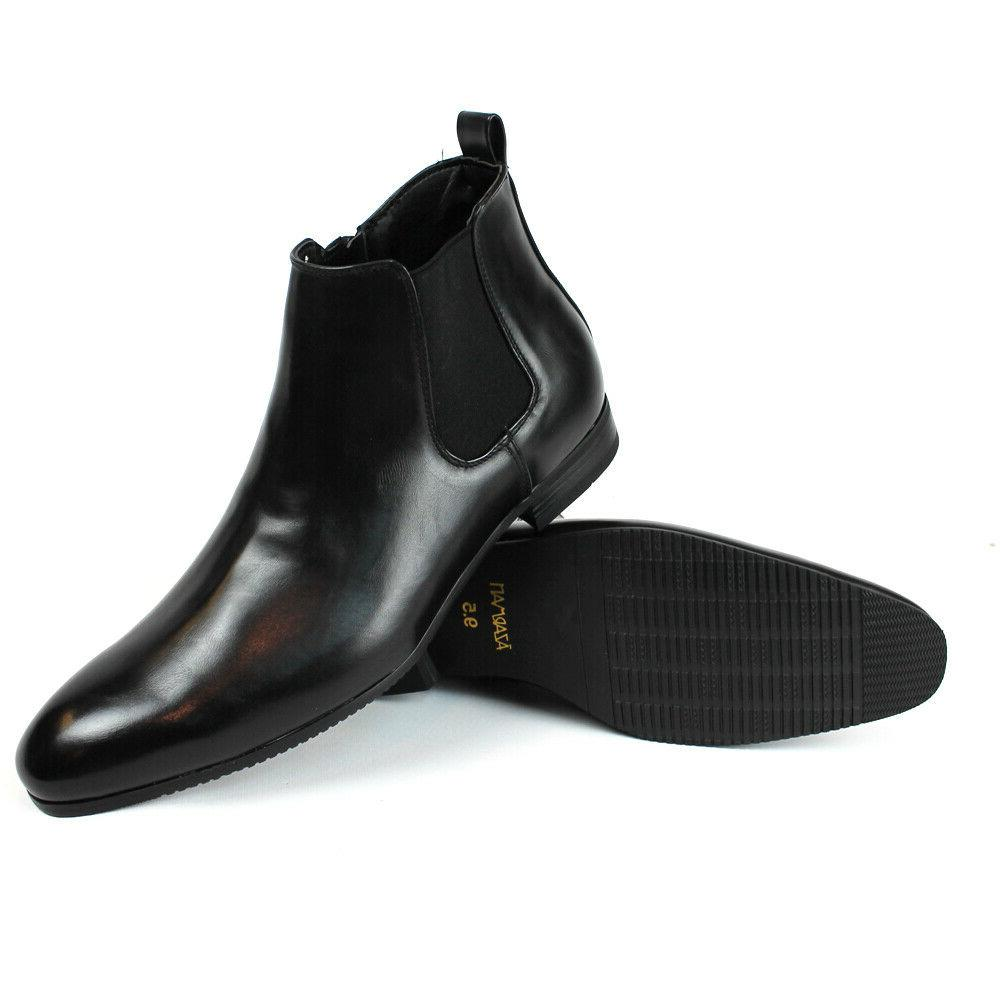 Black Leather Mens Ankle Dress Boots Side Zipper Round Toe C