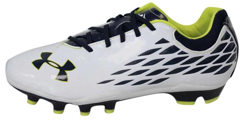 Under Armour Blur HG Junior Lace Up Silver Green Football Bo
