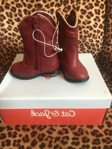Cat and Boots Size western ZipUp Faux Shoes PRISTINE