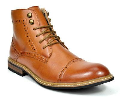 Bruno Combat Faux Leather Oxfords Boots
