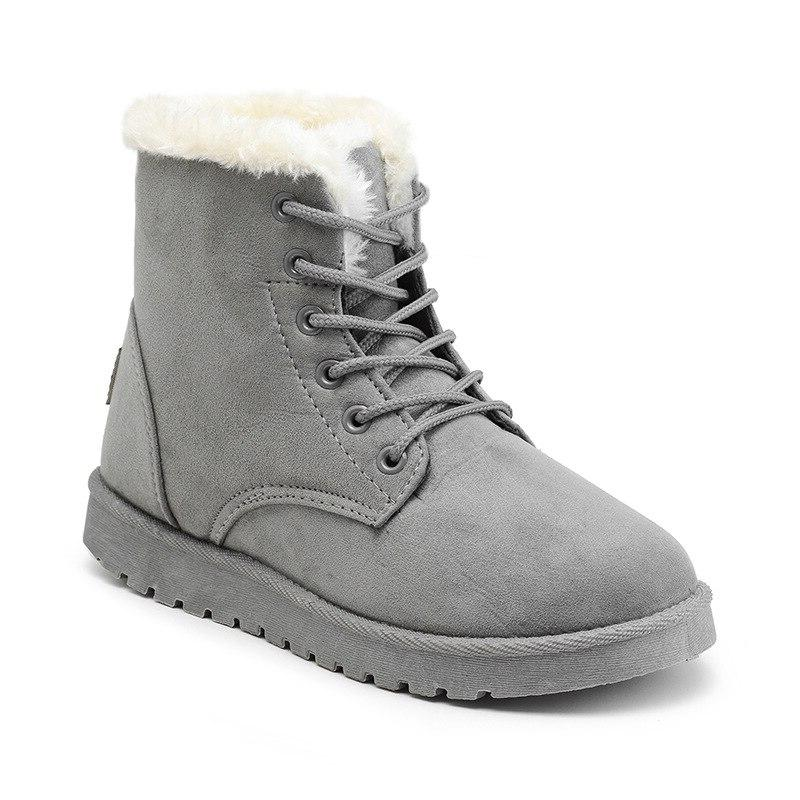 Classic Women Winter Suede Snow <font><b>Boots</b></font> Female Warm Fur Insole High Botas Mujer Size Shoes