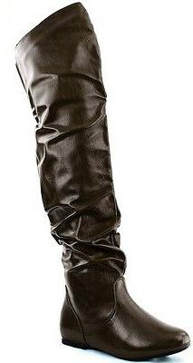 DailyShoes Fashion Hi Over the Knee Thigh High Flat Slouchy