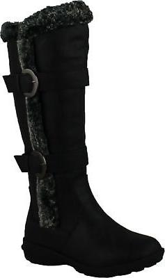 FOREVER AURA-43 Womens Double Straps Knee High Boots Winter