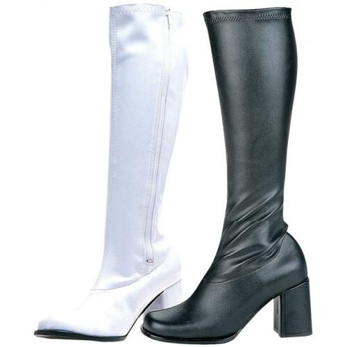 GoGo Boots Adult Womens Chunky High Heel Shoes 60s 70s Costu
