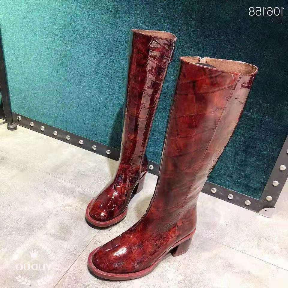 Vibsterimma High Burgundy Patent Women Leather <font><b>Riding</b></font> Knee High