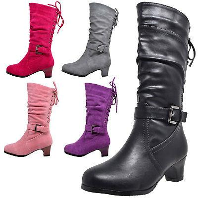 Kids Boots Mid Calf Girls Lace Up Low Heel w/ Buckle Strap A
