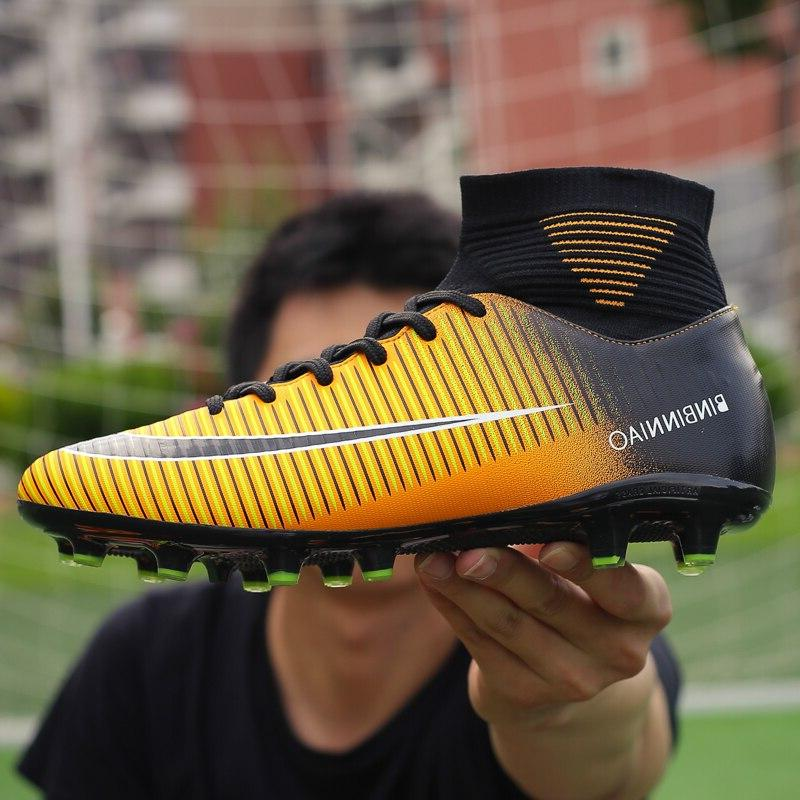 Men <font><b>Boots</b></font> Soccer Cleats TF Spikes Ankle High Top Sneakers Soft Turf