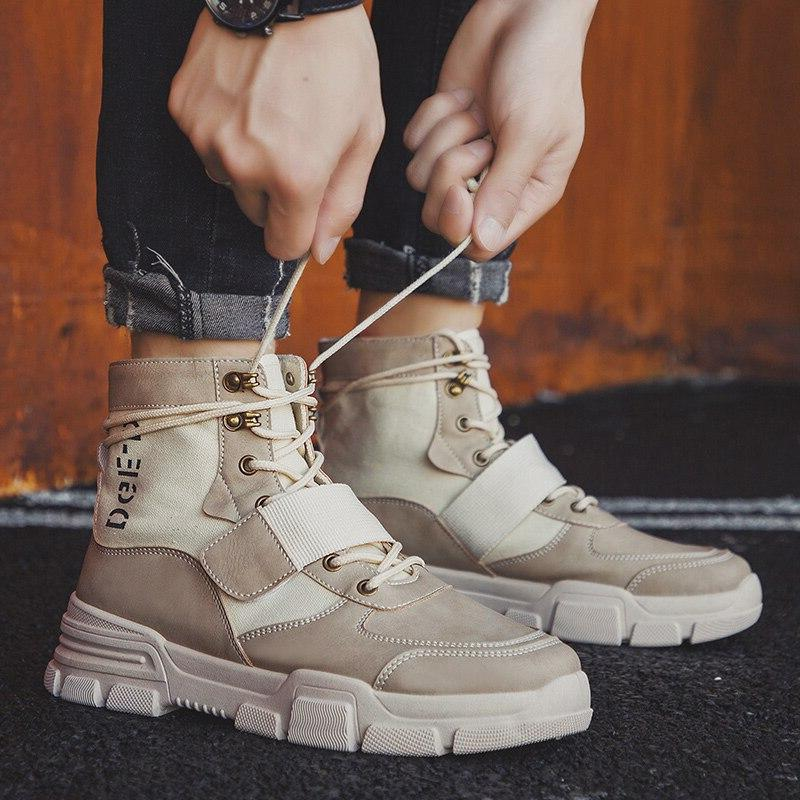 Men Military Winter <font><b>Leather</b></font> Special Force Desert Ankle Men Army Big