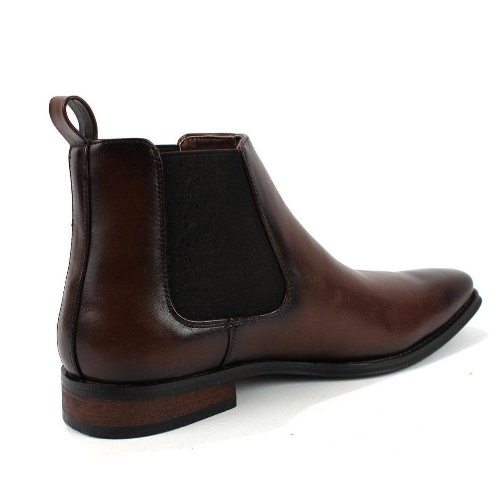 Men's Ankle Slip Almond Round Toe Leather Chelsea Luciano D-510