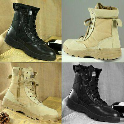 Men Leather Army Tactical Deployment Boot Military SWAT Boot