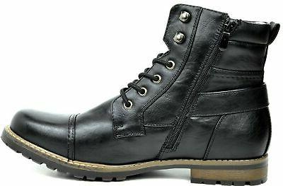 BRUNO MARC Men's Military Motorcycle Combat Boots Black-3 US