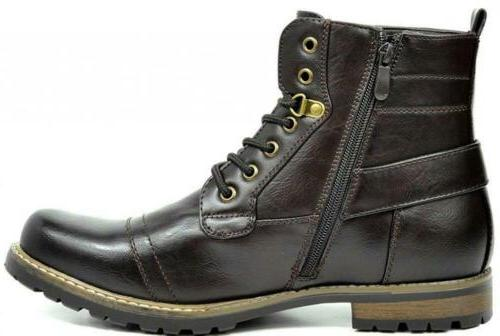 BRUNO MARC YORK Men's Military Motorcycle Boots Vegan Leather