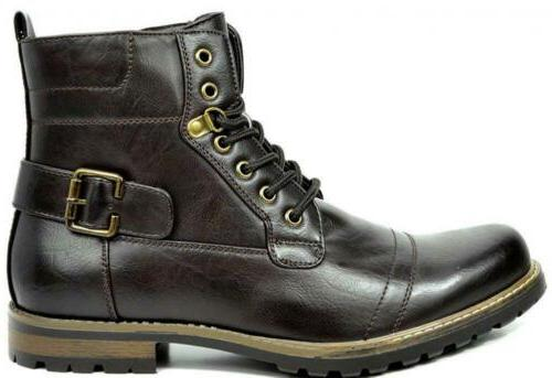 BRUNO MARC NEW Men's Military Boots Leather