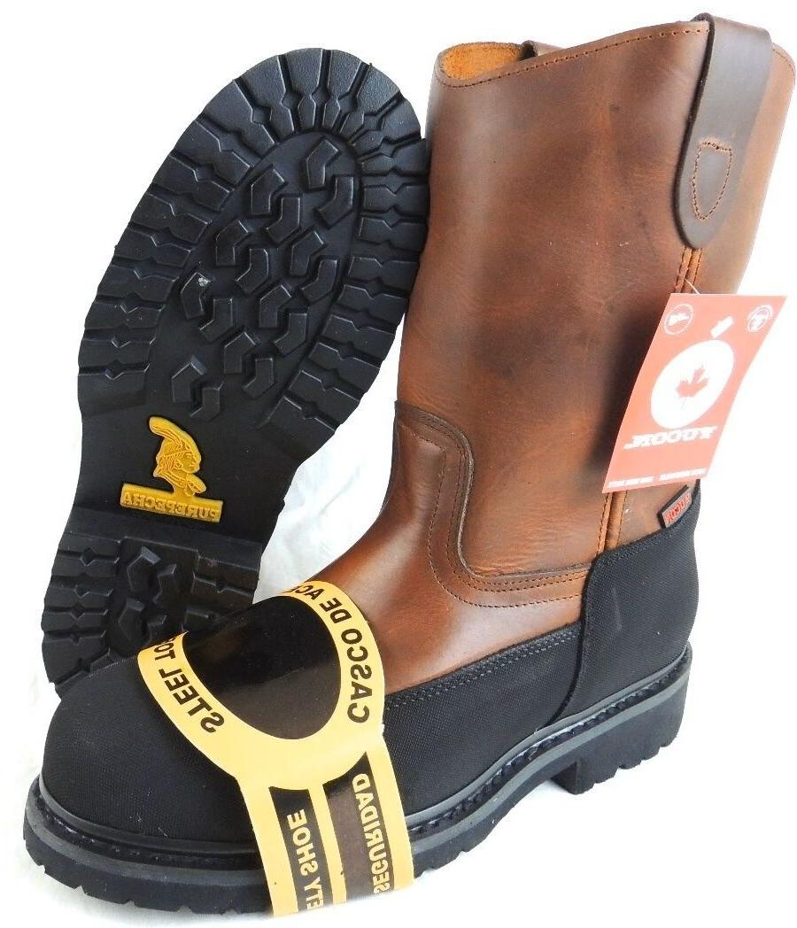 men s steel toe work boots pull