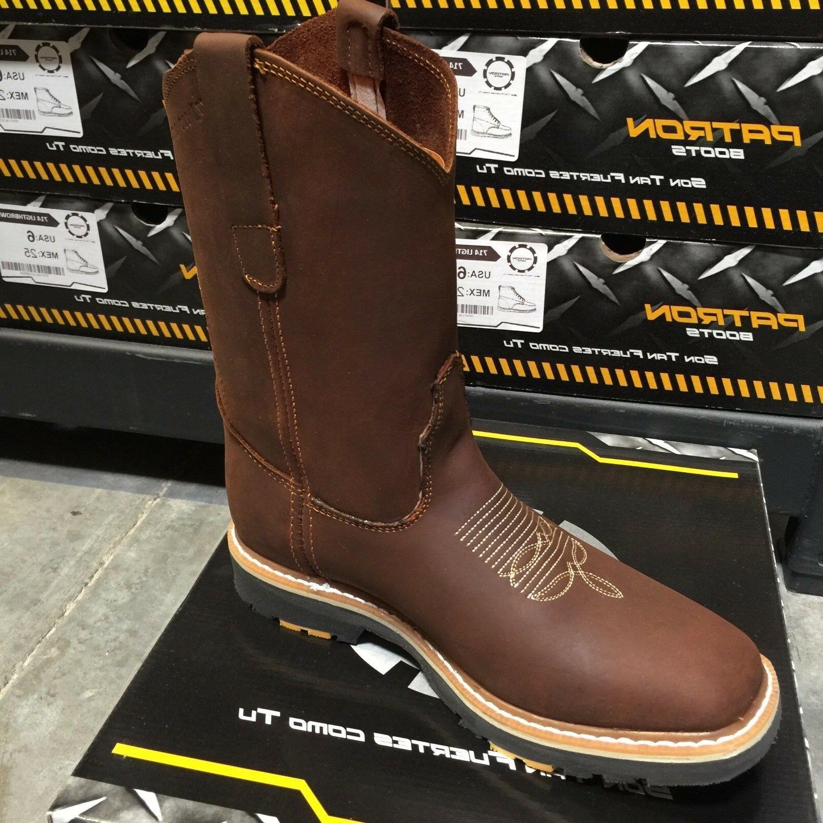 MEN'S STEEL TOE WORK BOOTS LEATHER BROWN WESTERN BOOTS