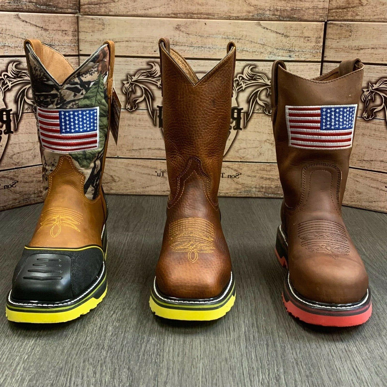 MEN'S STEEL TOE BOOTS AMERICAN STYLE SOFT LEATHER INSIDE SHAFT SAFETY