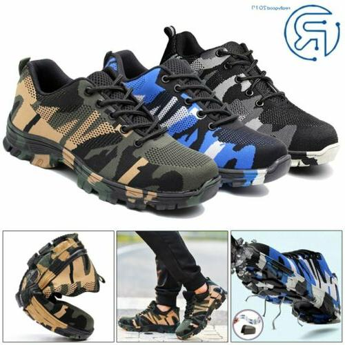 men safety work shoes breathable outdoor camouflage