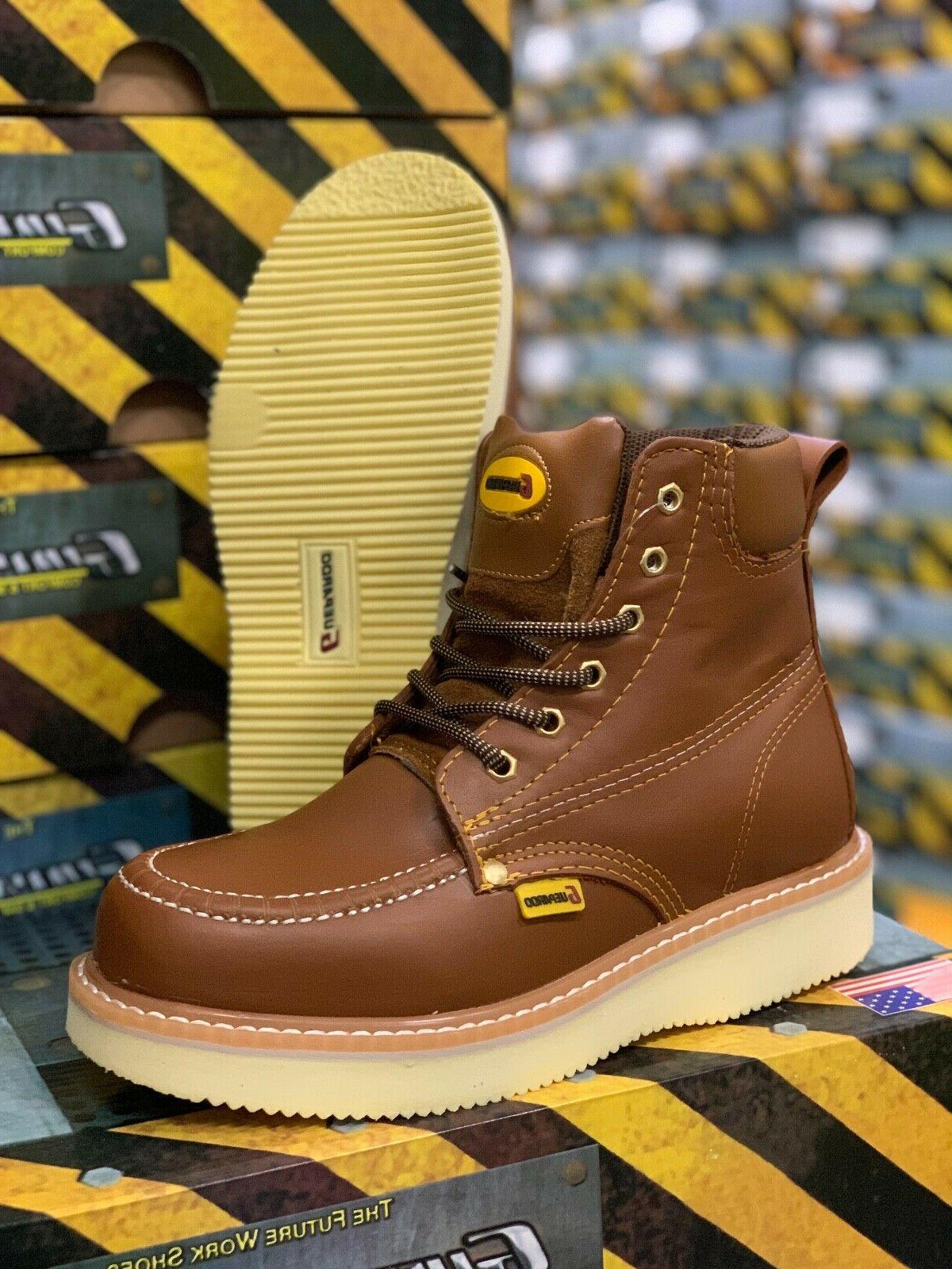 Men's Soft Moc Toe Resistant Leather Work Boots#61