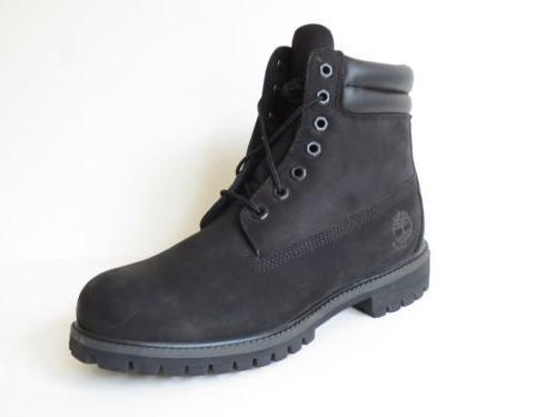 Timberland Mens Black 6 Inch Double Sole Premium Leather Wor