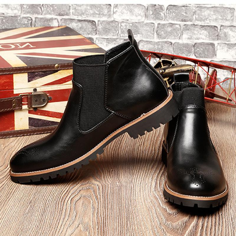 Mens Fashion Leather Male High-top Casual Shoes US7-10.5