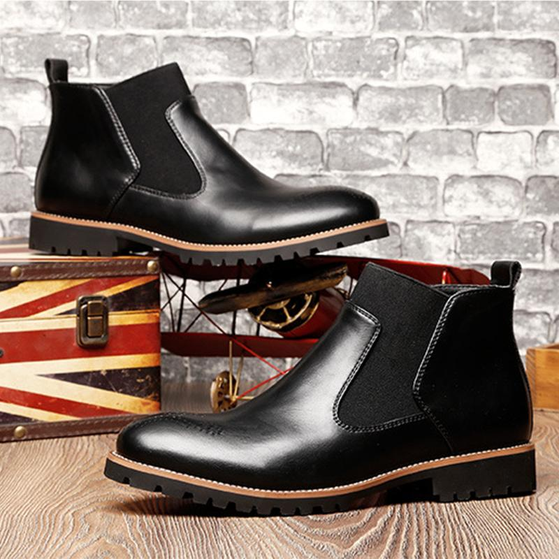 Mens Spring Leather Boots Male Casual Shoes