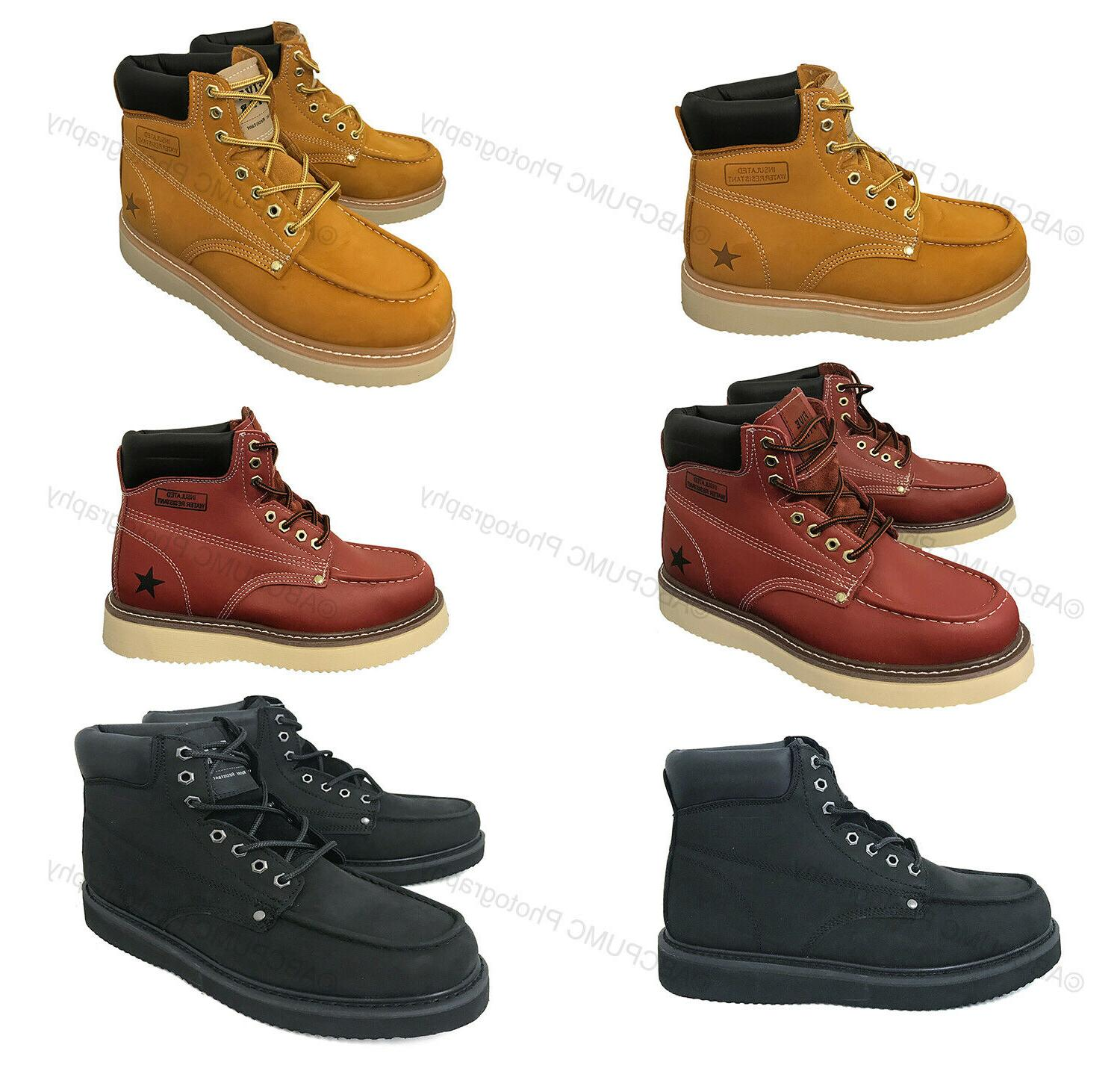 """Mens Moc Toe Boots 6"""" Leather Water / Oil Resistant Insulate"""