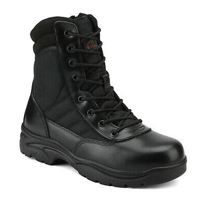 NORTIV Zip Military Tactical Boots Leather