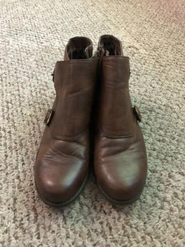 Naturalizer COMFORT Brown Leather Ankle Boots Sz