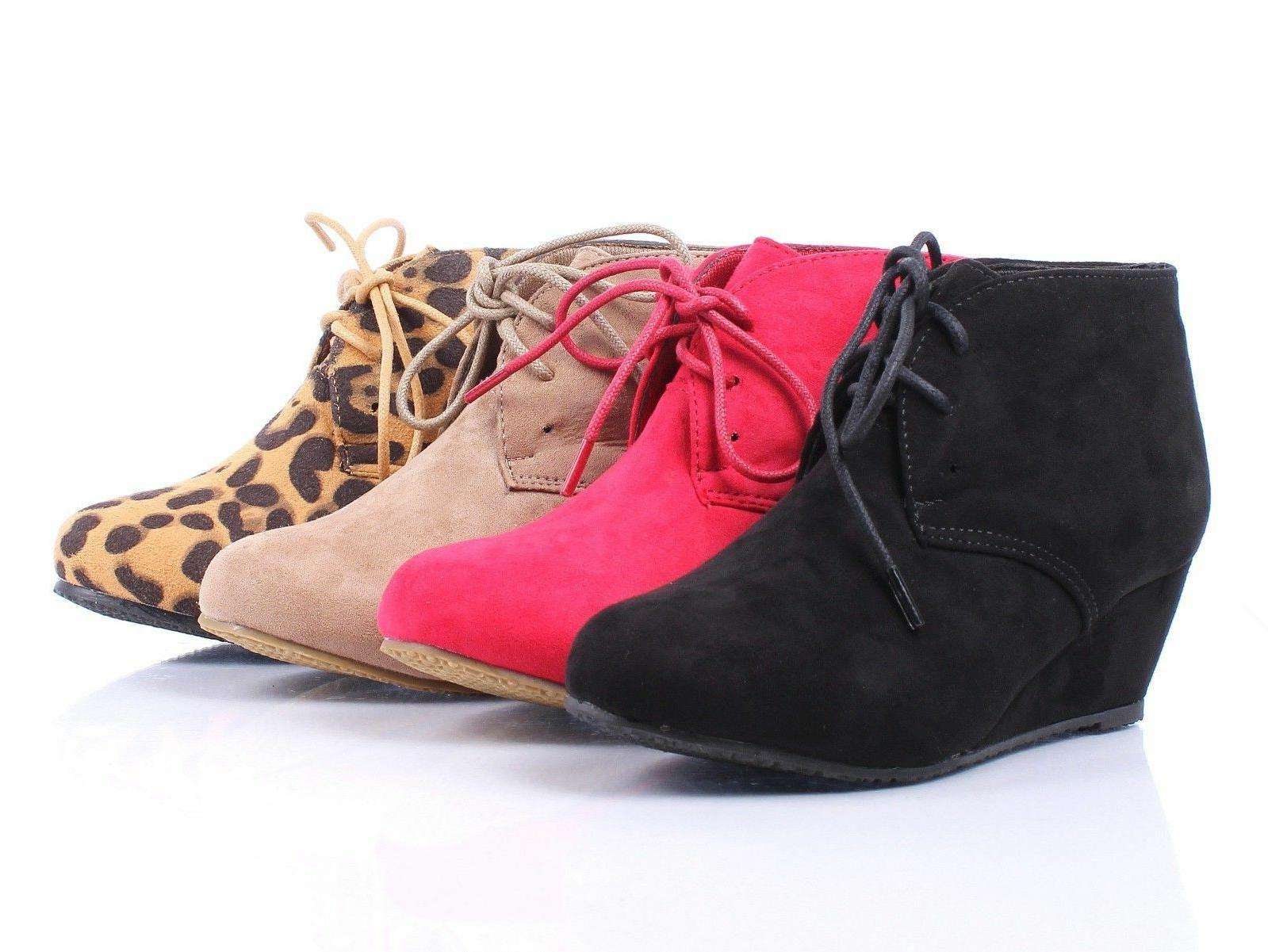 New Faux Suede Lace Up Girls Wedge High Heels Kids Ankle Boo