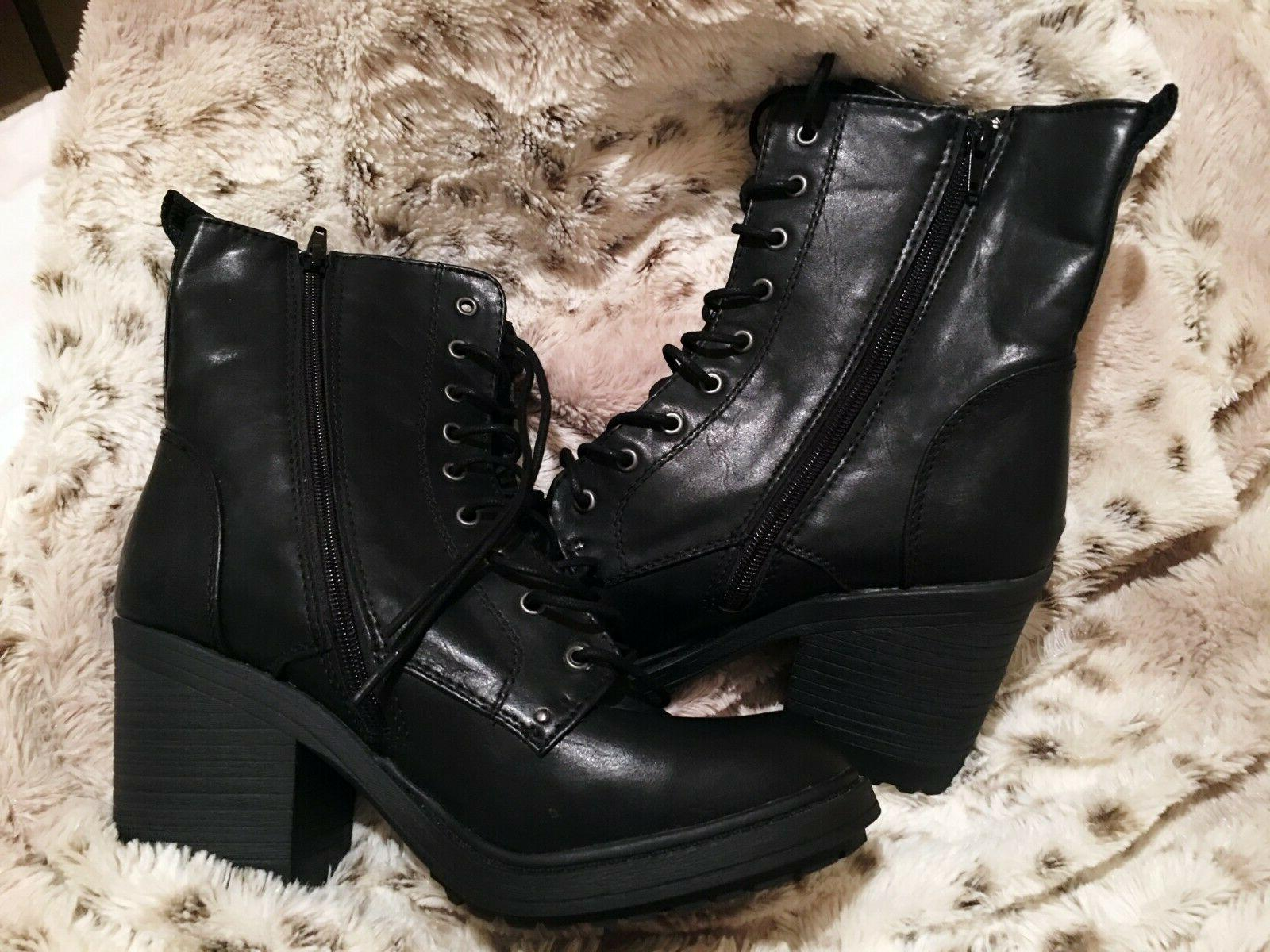 NEW Forever21 Heeled Booties Black Size Rock Fall