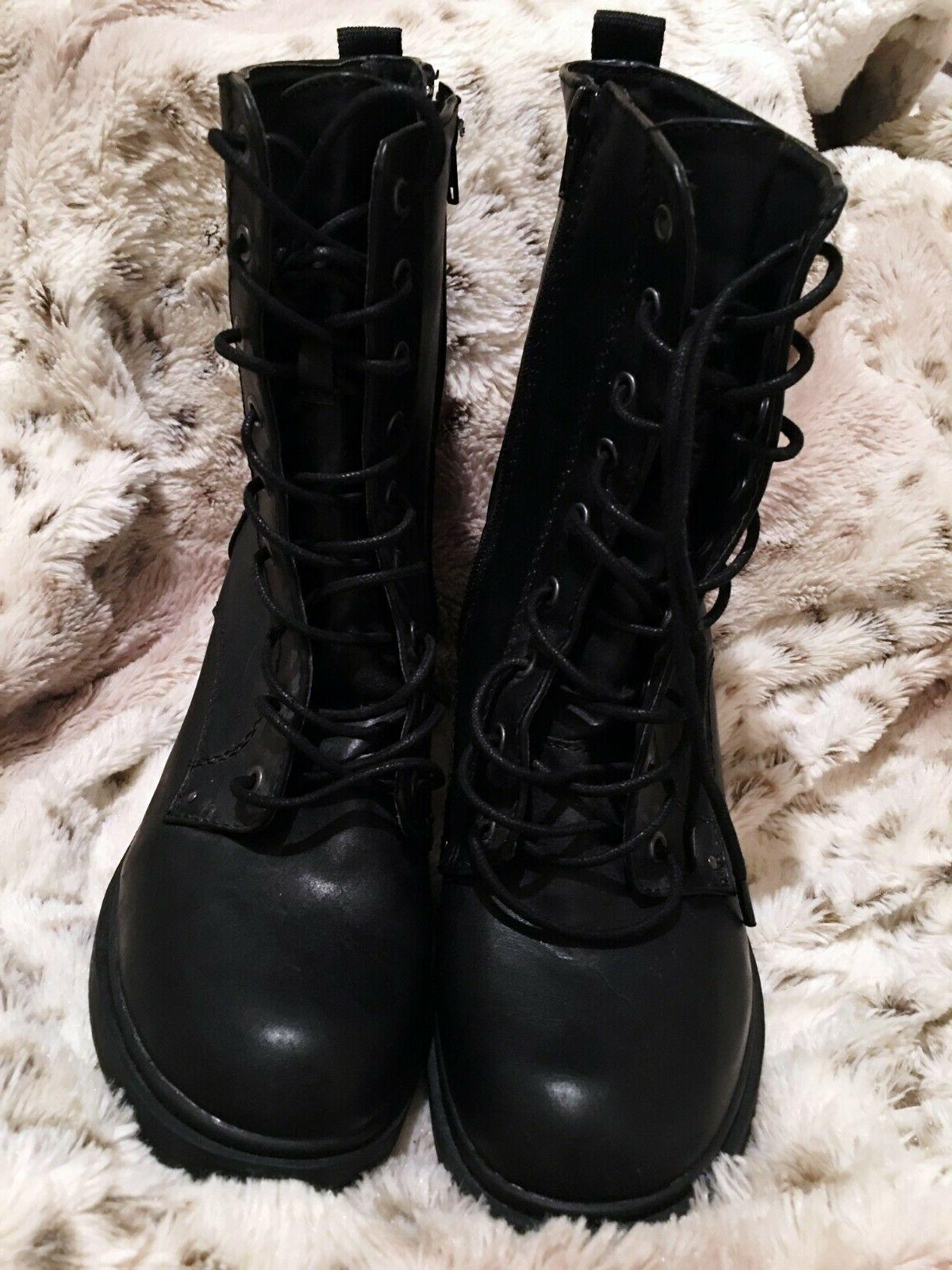 NEW Forever21 Booties Lace Up Black Size Rock