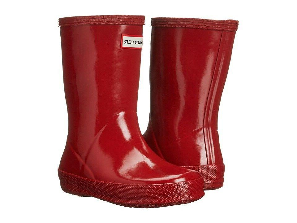 Hunter NEW Kids First Gloss Unisex Toddler M.Red Rubber Outd