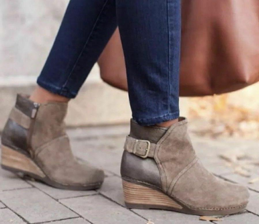 nib shirley wedge suede ankle boot bootie