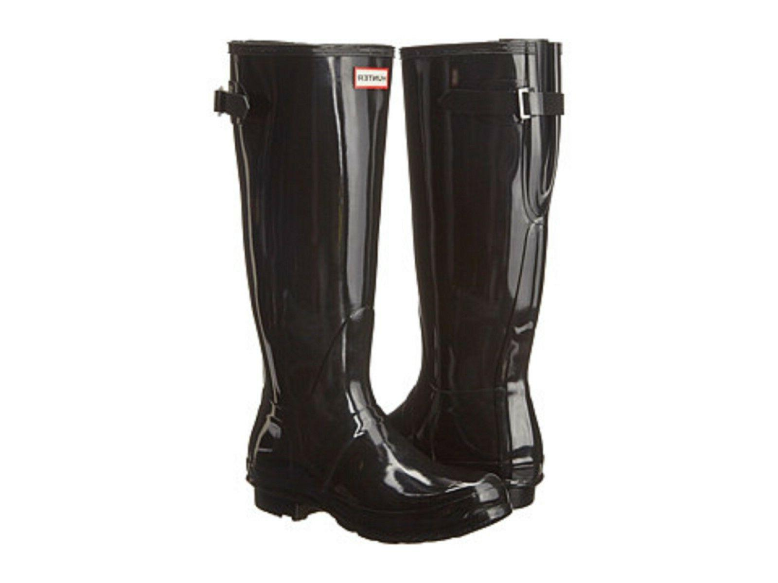 HUNTER ORIGINAL BACK ADJUSTABLE BLACK GLOSS RAIN BOOTS WOMEN