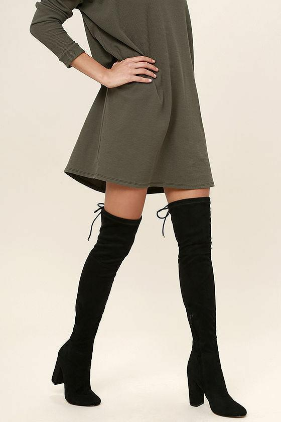 Over Thigh High Stretch Round Chunky Block Heel