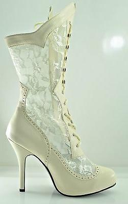 Plus Size Wide Width Victorian Gothic Lace Ankle Boot Weddin