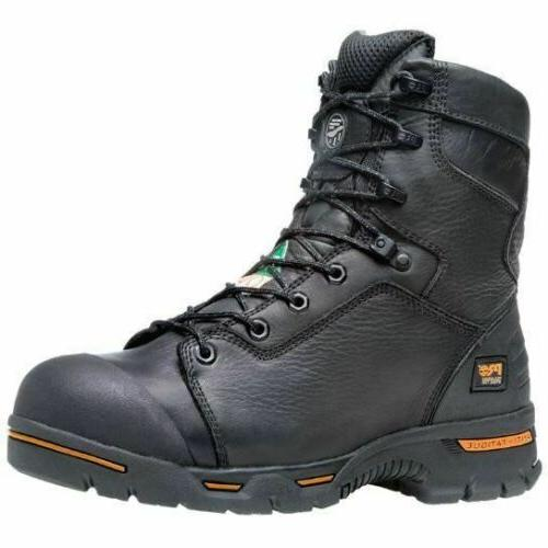 "Timberland PRO Men's Endurance 8"" Steel Toe Work Boots Black"