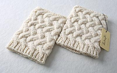 FAYBOX Short Crochet Boot Winter Cable Knit Leg Warmers Ivory