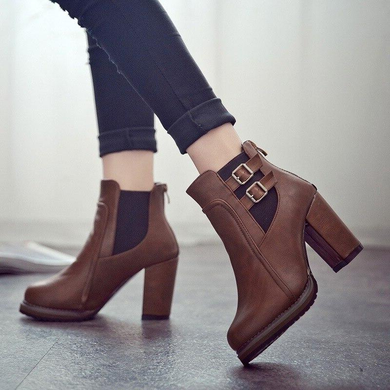 Square Heel <font><b>Ankle</b></font> Zapatos Size 35-43 2018 Autumn Winter Button High Fashion