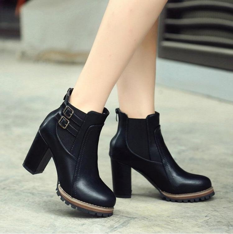 Square Heel <font><b>Ankle</b></font> <font><b>Boots</b></font> Zapatos Size Autumn and Button Fashion L237